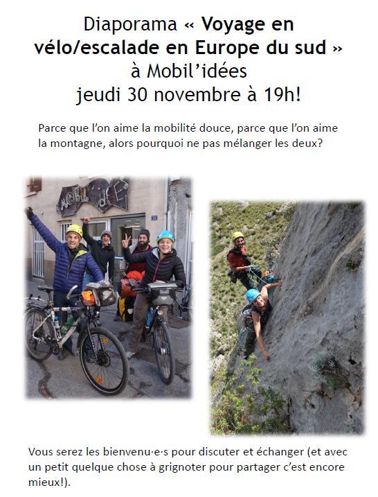 Voyage en vélo/escalade en Europe du sud