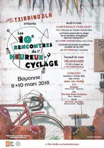 Direction Bayonne pour les rencontres de l'Heureux Cyclage , du 8 au 11 mars !