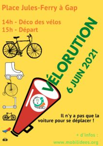 Parlons du vélo dans les Hautes-Alpes – le 6 Juin c'est la Vélorution